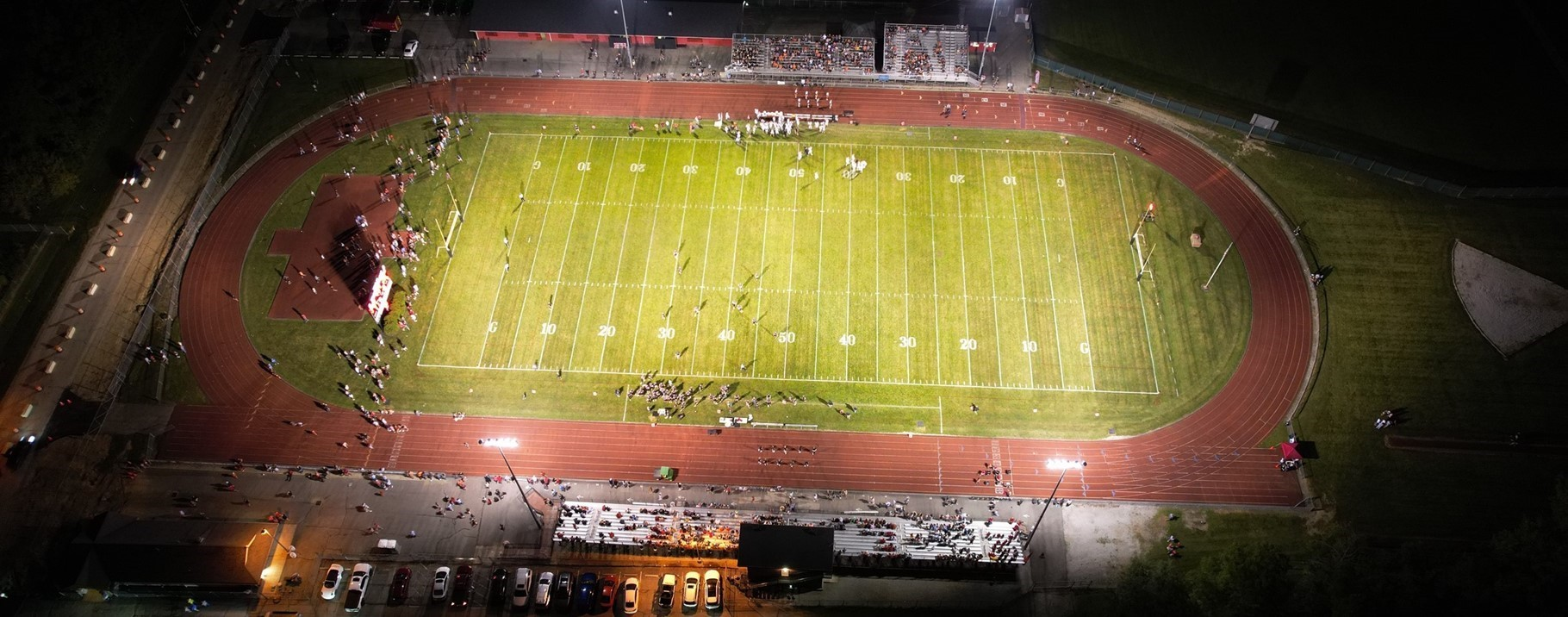 arial view of football stadium